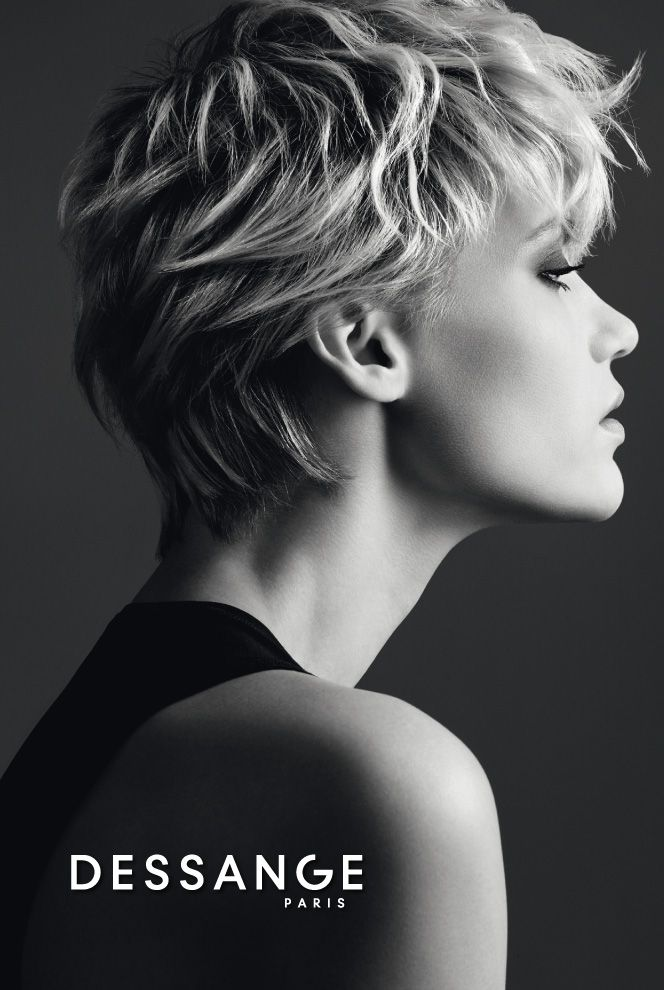 Short and legendary: Contours are softened by the lines of the cut, which follow the shape of the back of the neck. The feminine elegance of this cut, a great DESSANGE classic, comes from the front lengths positioned instinctually and naturally, not bangs or locks. #DESSANGE #Collection #FallWinter #LightOfShadows