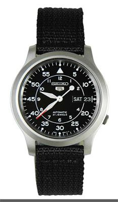 Seiko Men's SNK809 Seiko 5 Automatic Stainless Steel Watch with Black Canvas Strap $54.85 & FREE Shipping.