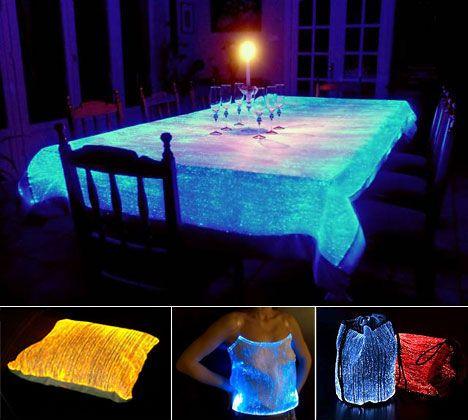 fiberoptics by LumiGram....Great for Weddings, Halloween, or Evening dinner parties.  They make Fiberoptic curtains too!!!!