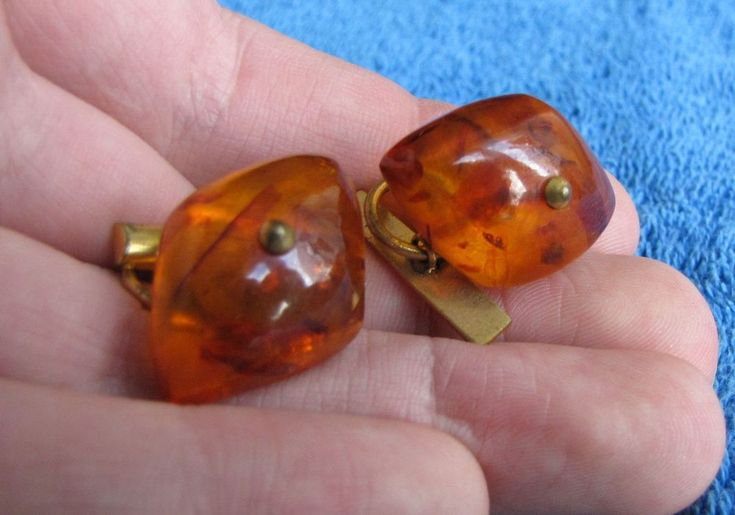 Natural Baltic Amber 10 gr honey cufflinks USSR gemstone Men Jewelry Vintage