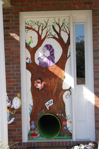 A creative way to enter the party: tape a piece of paper, decorated as a tree, to your open front door and stick a tube through it that represents the rabbit hole!