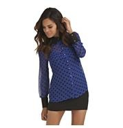 Kardashian Kollection Women's Sheer Polka Dot Blouse