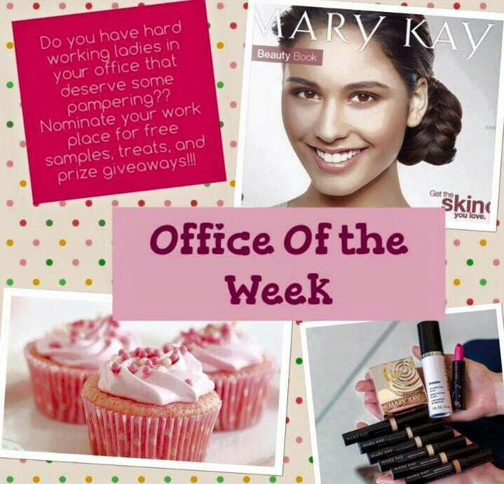 I'm looking for nominations for my Office of the Week program. I'll draw an office of the week from the nominations and that office will get pampered with free Mary Kay products and yummy treats! So, who do YOU recommend for my Office of the Week?  Samantha  832-235-3648  www.marykay.com/sscallan