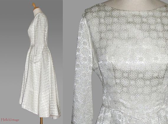 50s wedding dress brocade size M 1950 by HalloVintage on Etsy