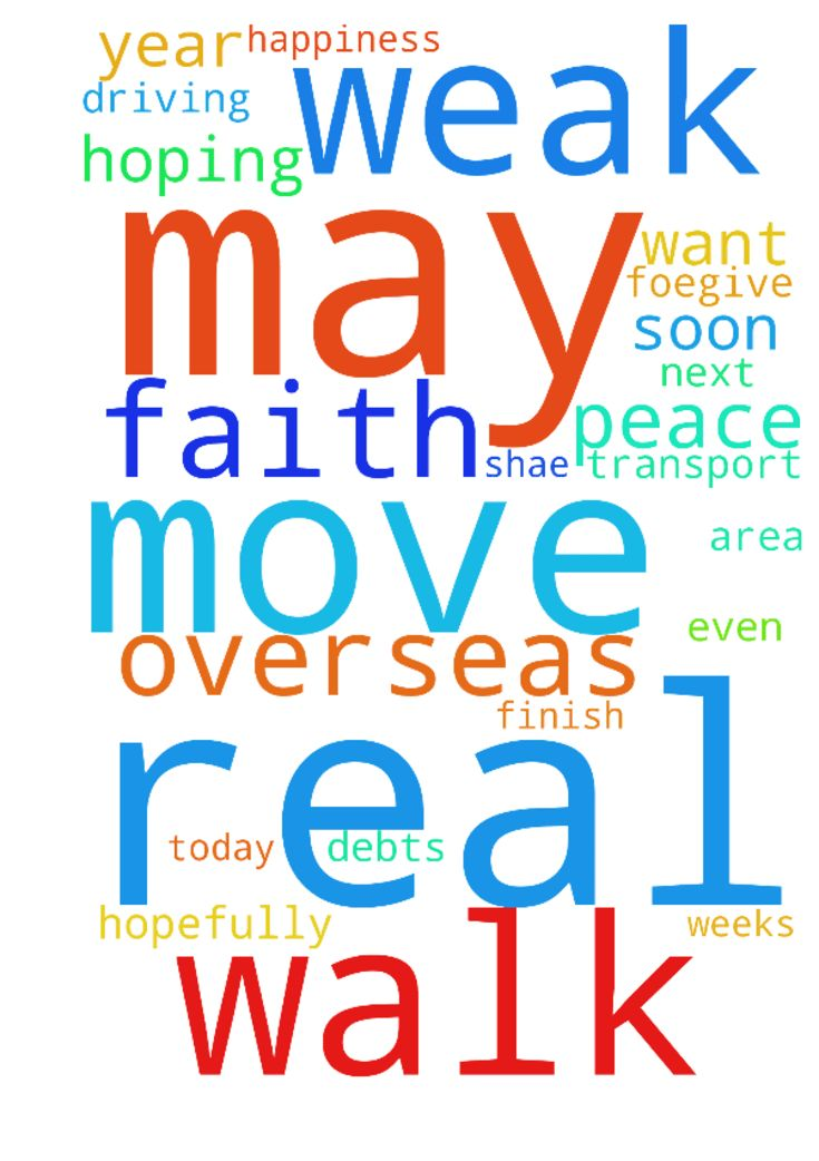 Please am real weak in my walk with God, and need help - Please am real weak in my walk with God, and need help peace joy happiness protection and also would like to move overseas have all of debts but want to move by faith, and finish my studies overseas as it is online, also am hoping by faith to get married real soon this year hopefully.. please foegive me father in heaven for my many sins and failures today please heal us all in every area of our lives, and may my friend shae get his…