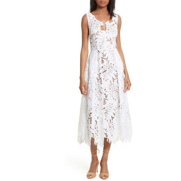 Women's Tracy Reese Leaf Lace Frock (655 BRL) ❤ liked on Polyvore featuring dresses, white, lace dress, fit and flare dress, palm leaf dress, white day dress and white lace dress