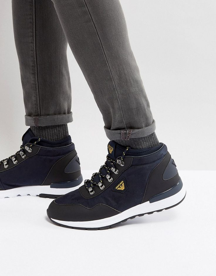 ARMANI JEANS LOGO LACE UP BOOTS IN NAVY - NAVY. #armanijeans #shoes #
