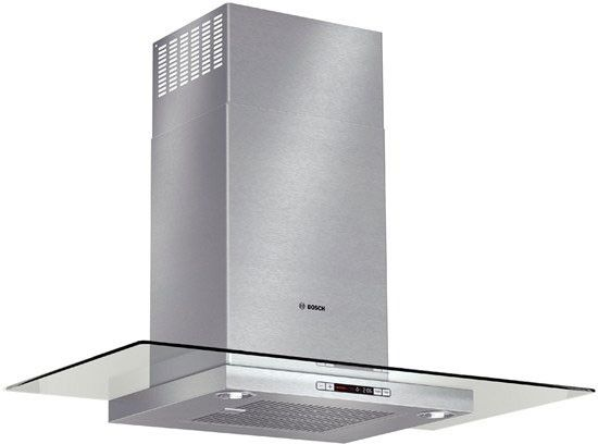Bosch HCG56651UC 36 Inch Wall Mount Chimney Range Hood with 600 CFM Internal Blower, 4-Speed Touch Controls, Heat Sensor, Built-in Timer, Glass Canopy and Non-Ducted Option