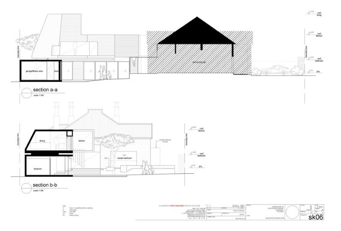 Reid house, sections, section cut thick and dominant in black, behind line weights thin, standard text and labelling  http://www.maynardarchitects.com/Site/houses/Pages/Reid_House.html#0