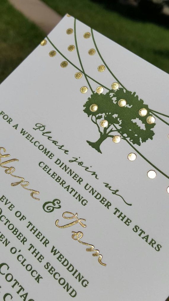 Letterpress Wedding Invitations Green Gold by DancingPenandPress