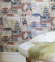 """Metropolis"" mörkorange by Sandberg  ~  #multicoloured #wallpaper #swedish #scandi #scandinavian #tapete #tapet #behang #papierpeint #houses #häuser #hus #city #town #stadt #stad #darkorange #dunkelorange"