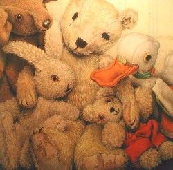 "Old bear and his friends. ""Read us a story old bear, we'll all gather round..."" Adored this!"