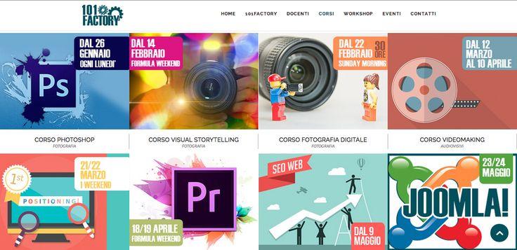 Creazione sito web 101 Factory. Settore Formazione: corsi di formazione e workshop nel settore del web marketing, dell'audiovisivo e della fotografia. http://101factory.it/