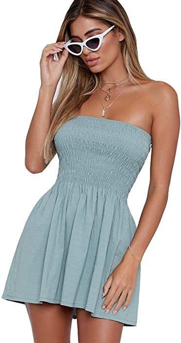 b55909d56985f just quella Women s Summer Cover up Strapless Dresses Solid Tube Top Beach  Mini Dress (M