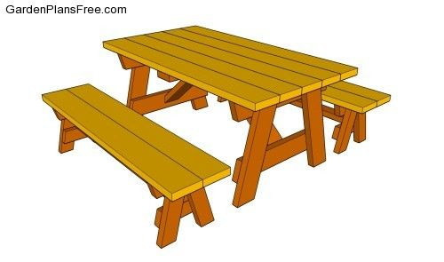 picnic table plans | Picnic table with benches