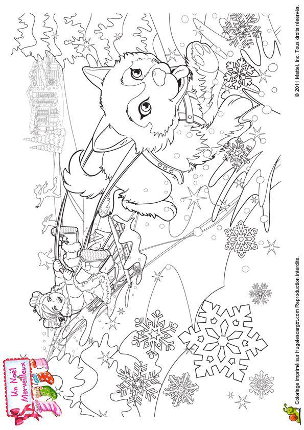 Un tour en traineau pendant les vacances de noël, coloriage pour enfants