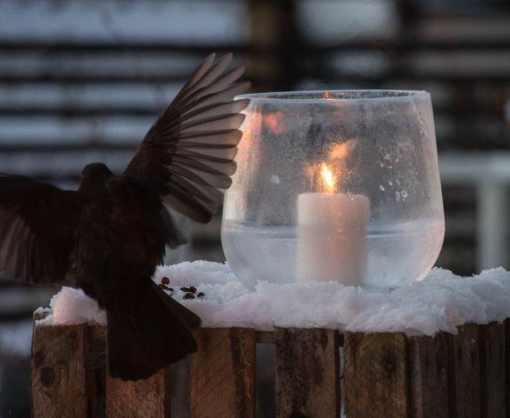 Ice lantern made with balloon.