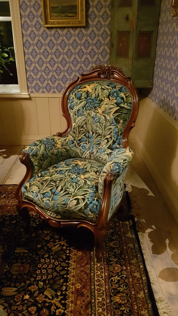 Armchair antique with Morris Fabric in an old Swedish croft