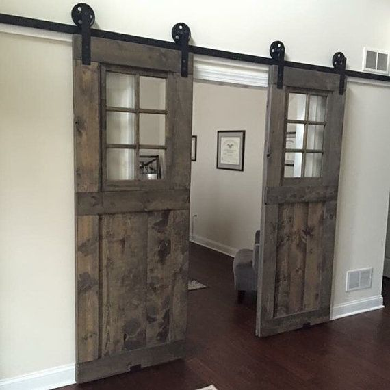 Reserved for Mark custom window barn door by GoodfromWood on Etsy