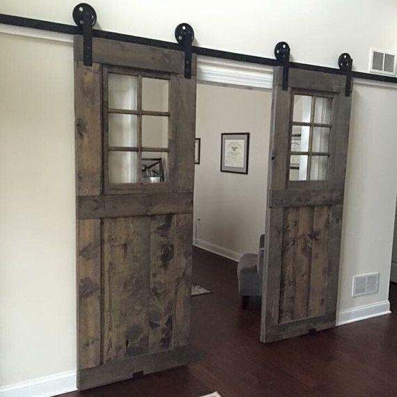 Vintage Custom Sliding Barn Door With Windows Price Is For One Door