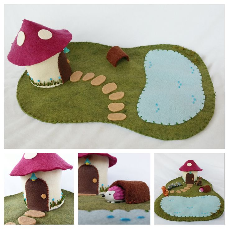 Magenta Mushroom House Playscape Play Mat pretend storytelling open-ended woodland felt imagination fairytale fairy gnome housr cottage toy by MyBigWorld2015 on Etsy