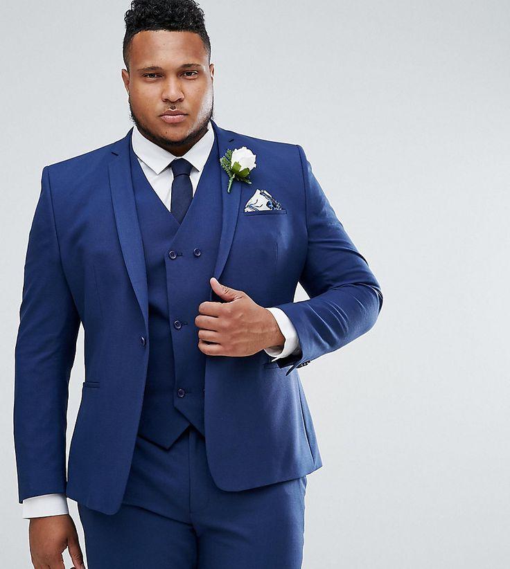 ASOS PLUS Wedding Skinny Suit Jacket in Navy Cross Hatch with Printed