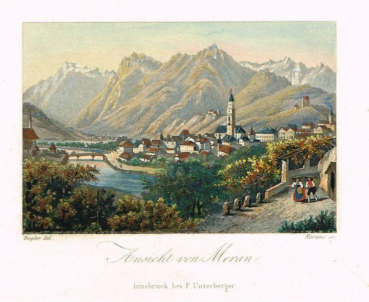 Ansicht von Meran - Innsbruck bei Unterberger - aquatinte gravé par Martens d'après Ziegler - MAS Estampes Anciennes - MAS Antique Prints