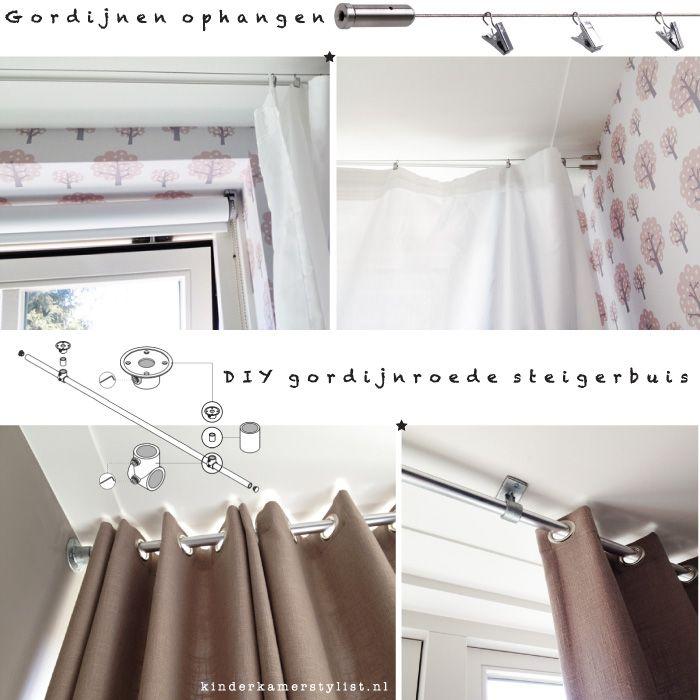 BLOG #Gordijnen ophangen ❥ tips en #DIY gordijnroede steigerbuis | kinderkamerstylist.nl