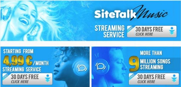 SiteTalk Music will be alive Saturday, 01.02.2014 at 14.00 CET !  Test it for 30 days for free !  Sign up here : www.SiteTalk.com/PlayAndEarn !