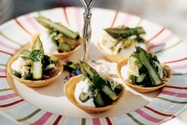Asparagus and goats curd tarts