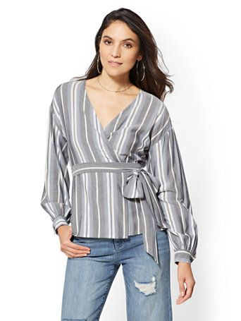 5c7cdb03347400 Shop Stripe Tie-Front Wrap Shirt. Find your perfect size online at the best  price at New York & Company.