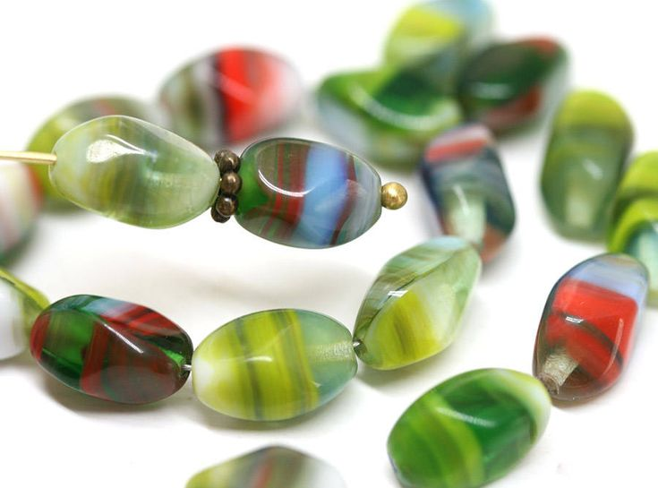 Green czech glass beads Mixed Green Red oval beads 11x7mm twist barrel beads - 20Pc - 2830 by MayaHoney on Etsy