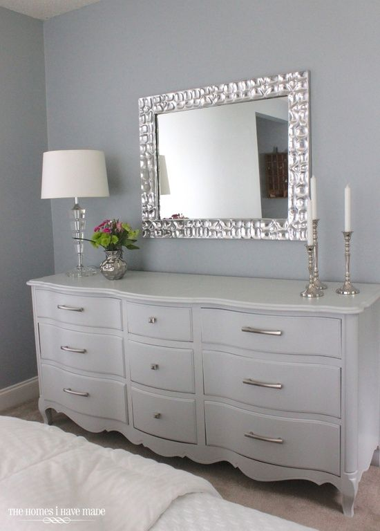 "Art Deco Guest Bedroom with Feiss Scott 31"" x 37"" Electric Platinum Wall Mirror, Carpet, Emma White 7-drawer Dresser"