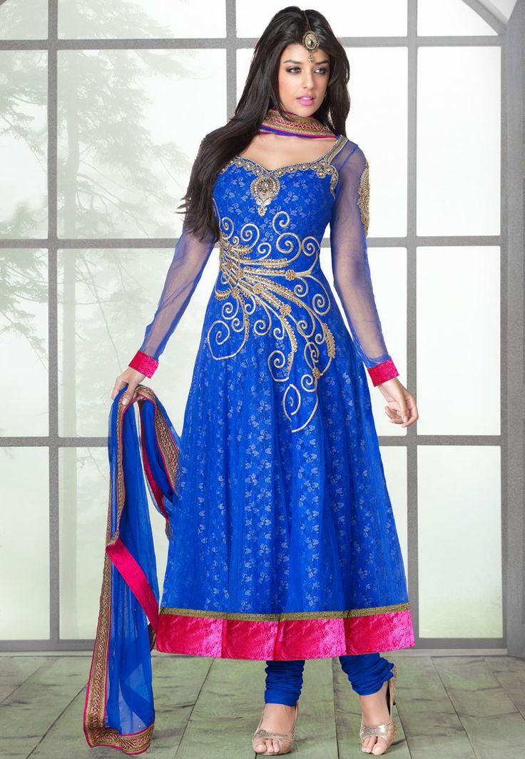 Blue Net and Net Jacquard Anarkali Churidar Kameez