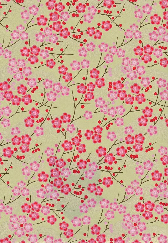 Hot Pink  and Gold Blossoms Japanese Yuzen by mosaicmouse on Etsy: Cherries Blossoms, Gold Blossoms, Blossoms Japan, Washi Paper, Blossoms Paper, Asian Paper, Hot Pink, Pink And Gold, Paper Japon