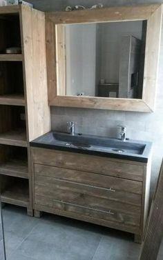 Badkamermeubel op maat. Voor meer informatie, ga naar steigerhout.nu & facebook