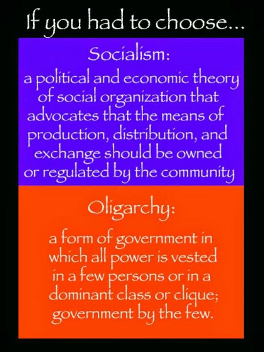 Which is the lesser of the two evils?  As written, Socialism, w/o government ownership, would be the better choice than domination by a select few...