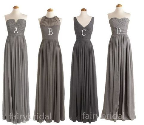 The grey bridesmaid dresses are fully lined, 8 bones in the bodice, chest pad in the bust, lace up back or zipper back are all available, total 126 colors are available. This dress could be custom made, there are no extra cost to do custom size and color.  Description  1, Material: chiffon, e...