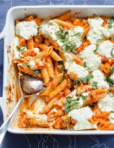 ~~~ Fun Recipe World ~~~ Baked Penne With Roasted Red Pepper Sauce & Goat Cheese Recipe..