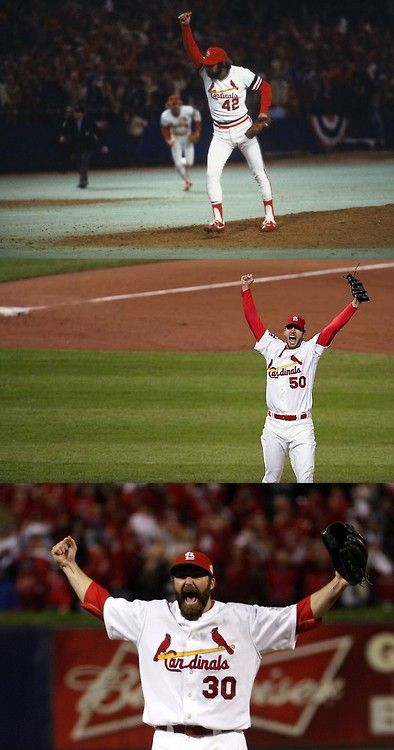 Final outs of the 1982, 2006, and 2011 World Series...I have 2 out of the 3 of those autographed photos!!