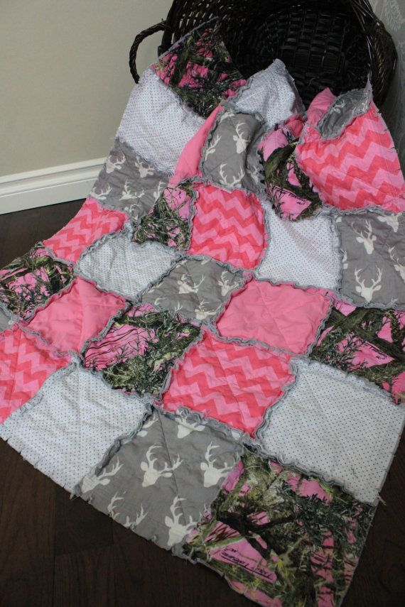 Baby Girl Rag Quilt Pink Camo Baby Quilt Real Tree by RozonsRags