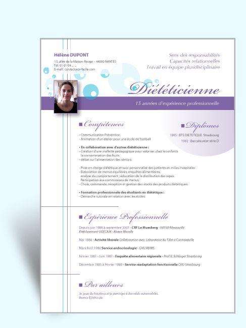 Modèle CV original Diététicienne