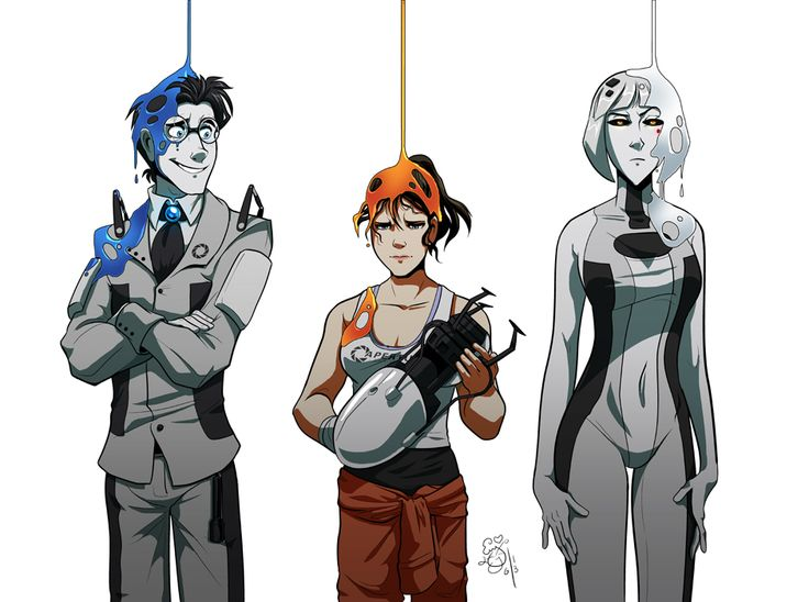 Wheatley, Chell, and GLaDOS - Portal 2
