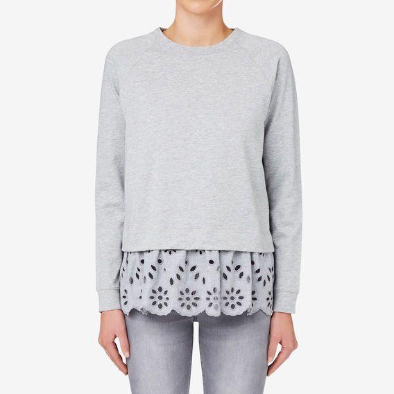 Embroidered Hem Sweater  MID GREY MARLE seed 90