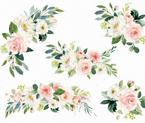 Acuarela Floral Clip Art Ethereal Blush Vol 2 Clip Art Small Etsy Floral Watercolor Clip Art Flower Clipart