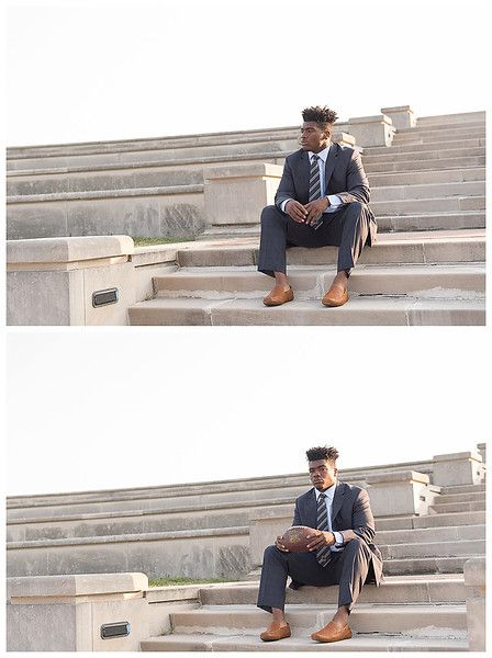 Cathedral High School, Indianapolis; Senior Guy Session dressed in a suit in an urban setting