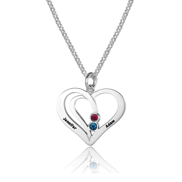 Post Included Aus Wide and to most international countries! >>>  2 Hearts As 1 Personalised Birthstone Necklace - 925 Sterling Silver