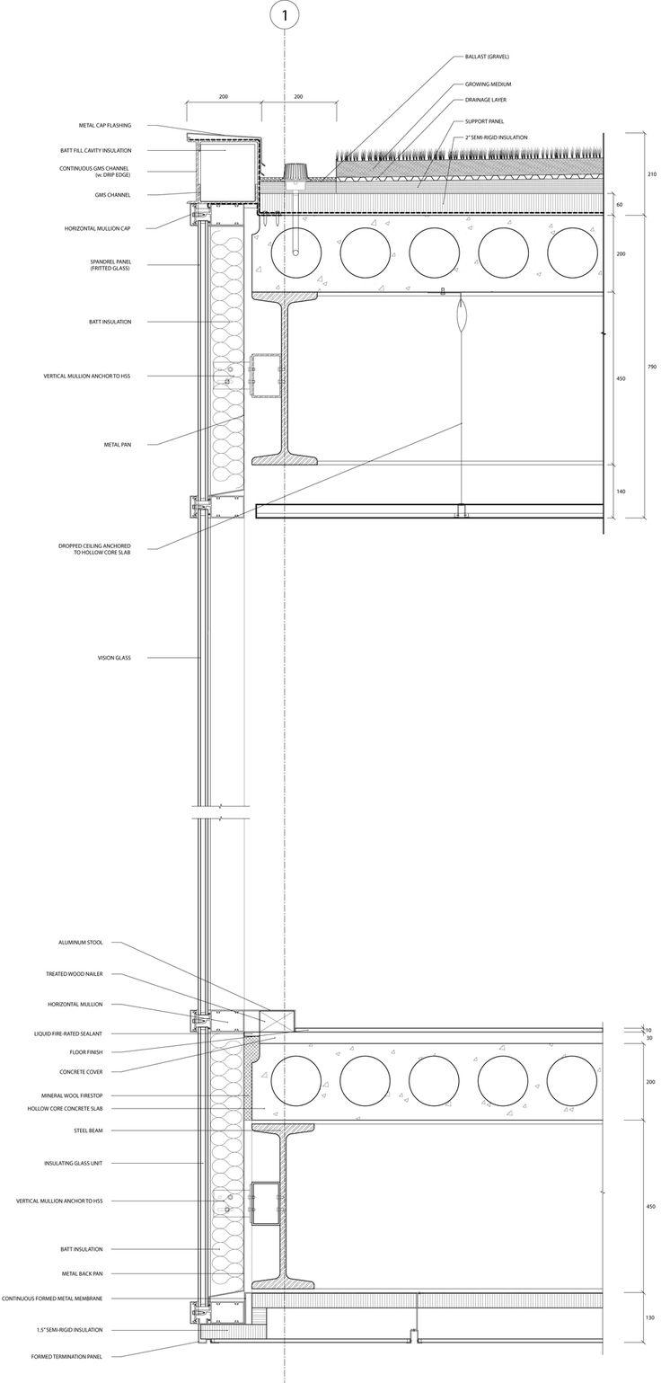 DETAIL WALL SECTION (AT CURTAIN WALL)