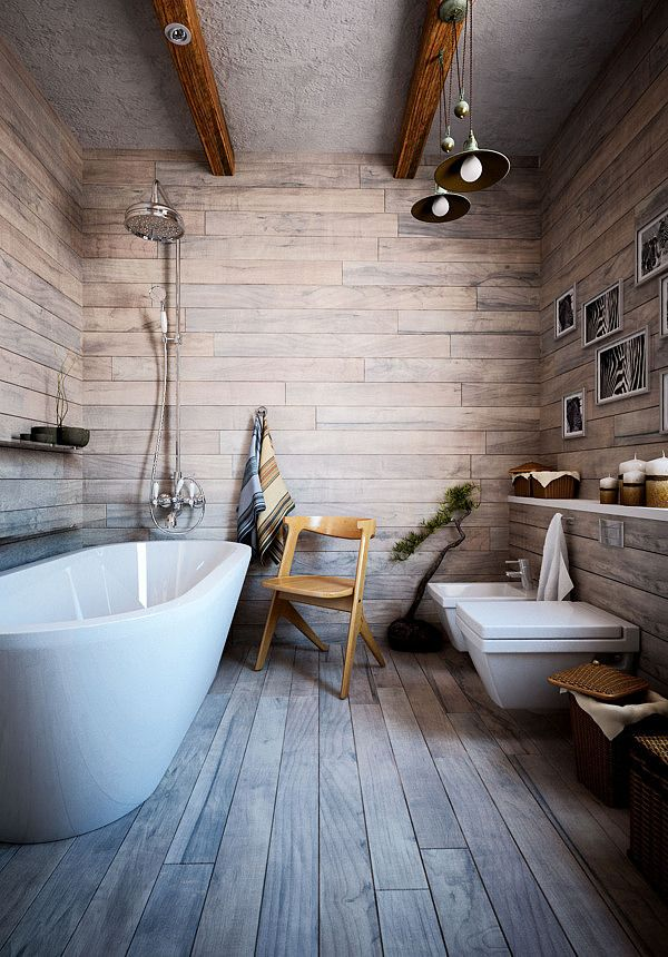 Small Home by Galina Lavrishcheva - 'wood' tiles for a wet area. Gotcha.