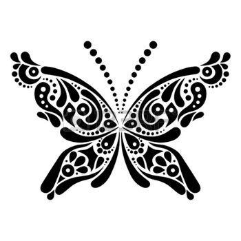 animali bianco e nero: Bella farfalla tatuaggio modello artistico a forma di farfalla